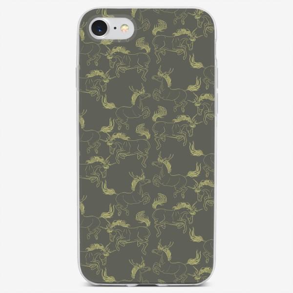 Чехол iPhone «Yellow line horse»