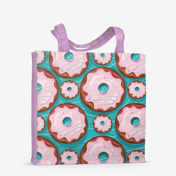Сумка-шоппер «Пончики на бирюзовом»