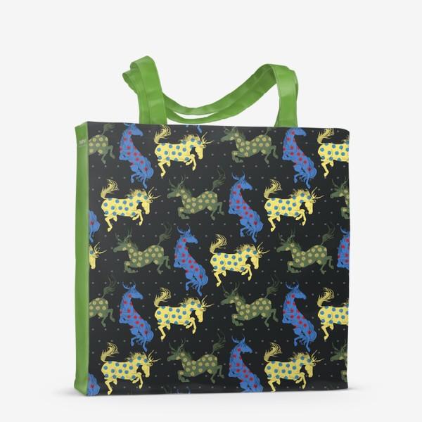 Сумка-шоппер «Colorful horned horses»