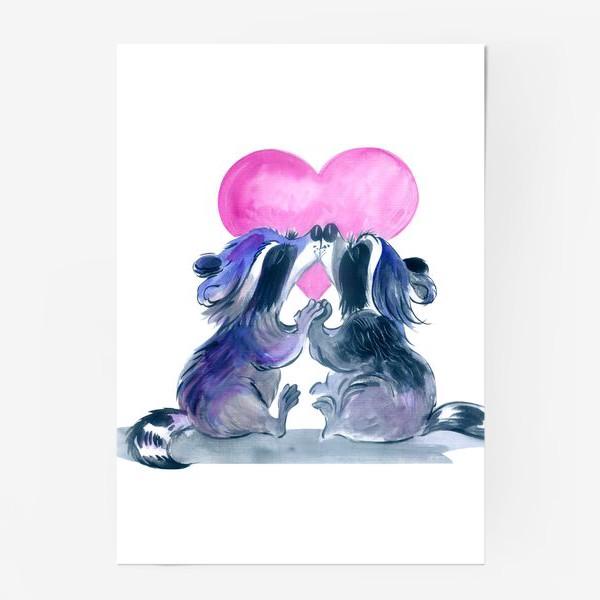 Постер «влюбленные еноты»