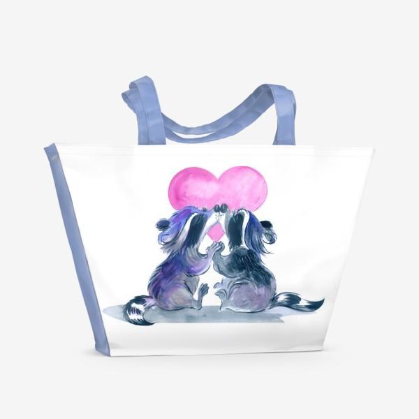 Пляжная сумка «влюбленные еноты»