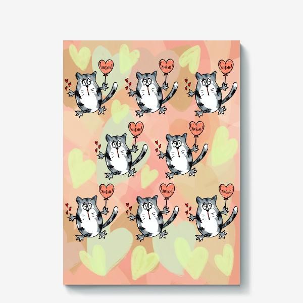 Холст «Люблю! Признание. Летящие коты. День Влюблённых »
