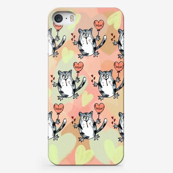 Чехол iPhone «Люблю! Признание. Летящие коты. День Влюблённых »