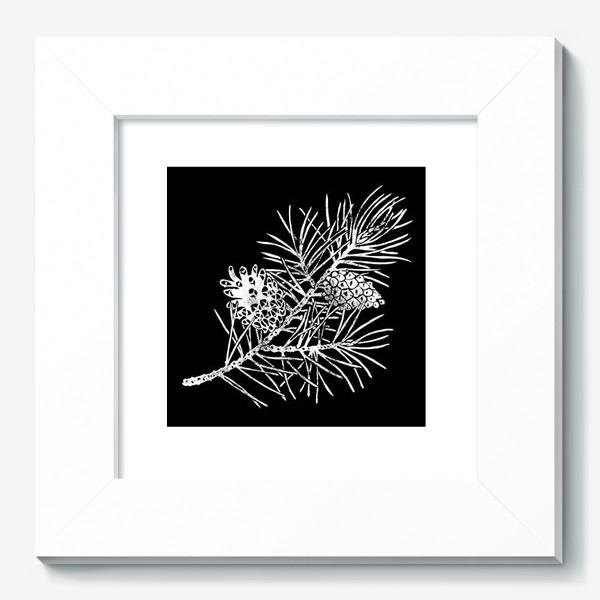 Картина «Сосна в технике линогравюра-4»