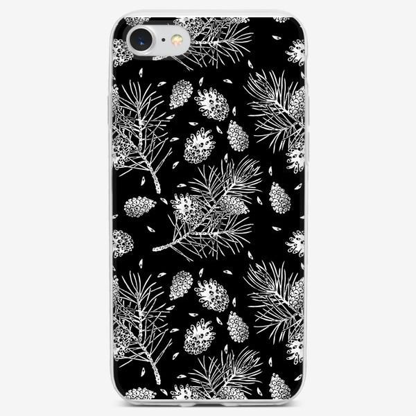 Чехол iPhone «Сосна в технике линогравюра-5»