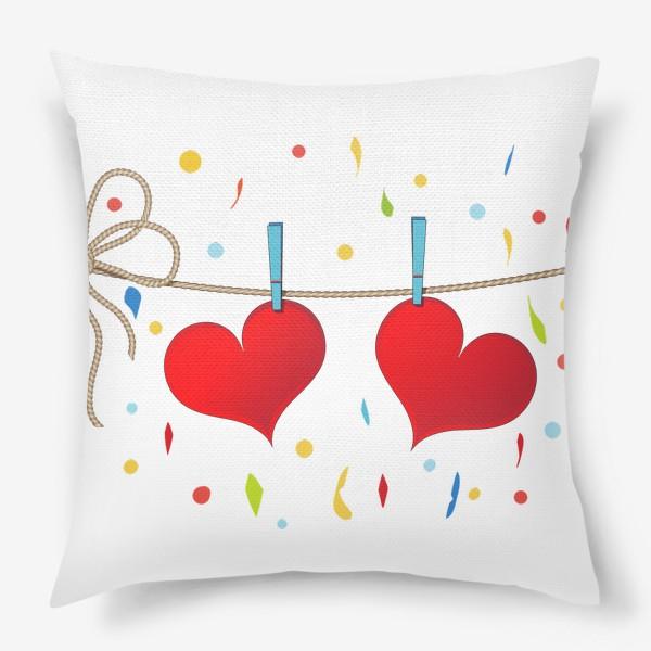 Подушка «Два сердца на веревочке»