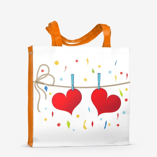 Сумка-шоппер «Два сердца на веревочке»
