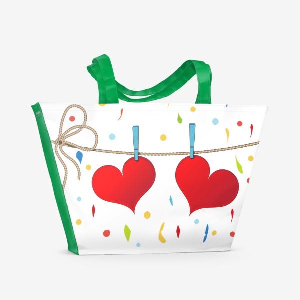 Пляжная сумка «Два сердца на веревочке»