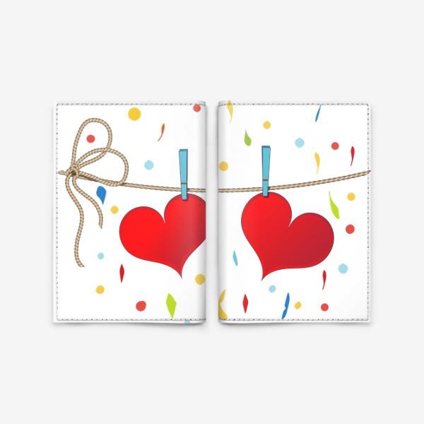 Обложка для паспорта «Два сердца на веревочке»