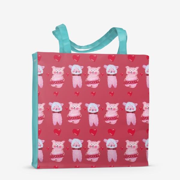 Сумка-шоппер «Розовые овечки и сердечки на темно-розовом фоне»