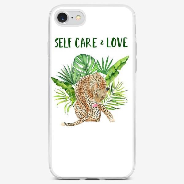 Чехол iPhone «Любовь и забота о себе. Тропическая киса на белом»