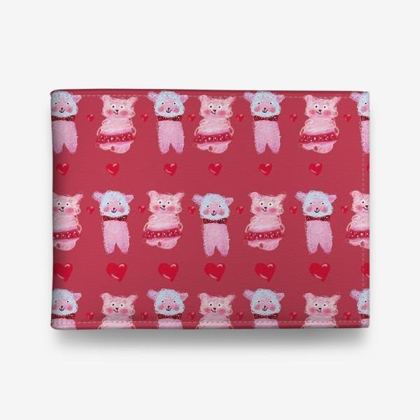 Кошелек «Розовые овечки и сердечки на темно-розовом фоне»