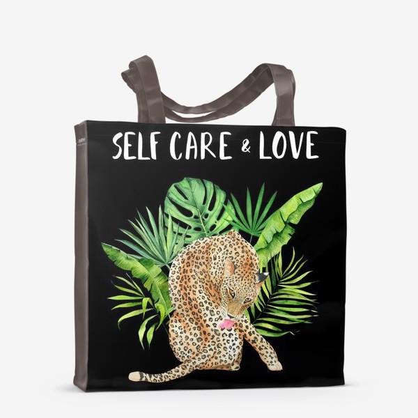 Сумка-шоппер «Любовь и забота о себе. Тропическая киса»