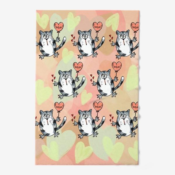 Полотенце «Люблю! Признание. Летящие коты. День Влюблённых »
