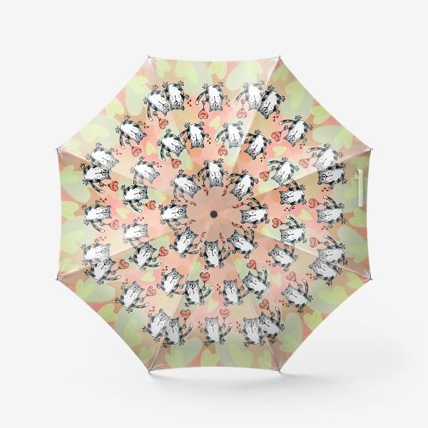 Зонт «Люблю! Признание. Летящие коты. День Влюблённых »