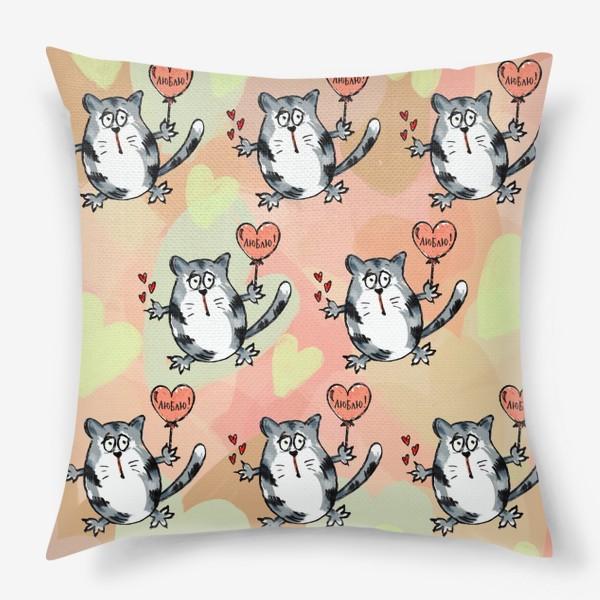 Подушка «Люблю! Признание. Летящие коты. День Влюблённых »