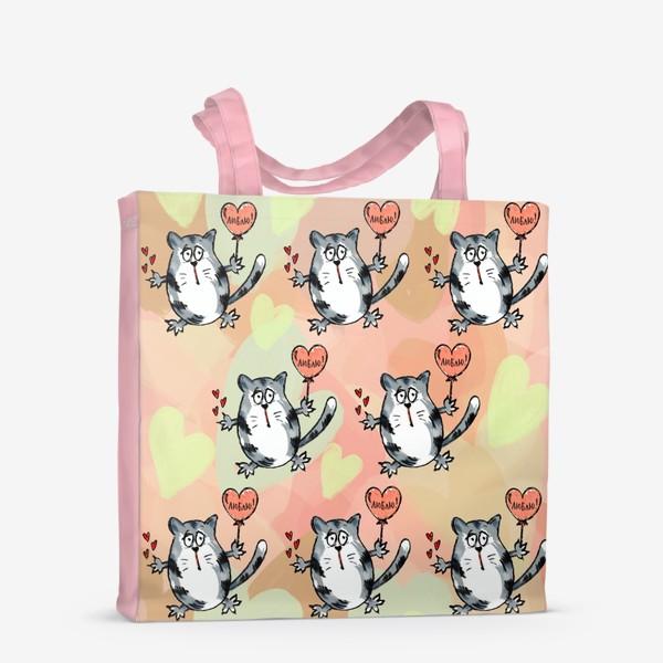 Сумка-шоппер «Люблю! Признание. Летящие коты. День Влюблённых »