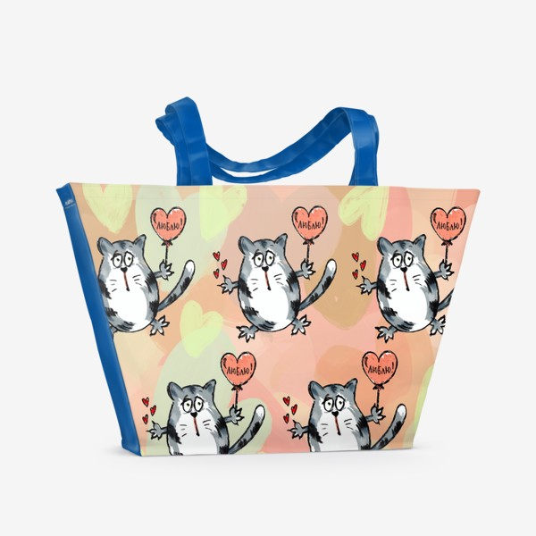 Пляжная сумка «Люблю! Признание. Летящие коты. День Влюблённых »