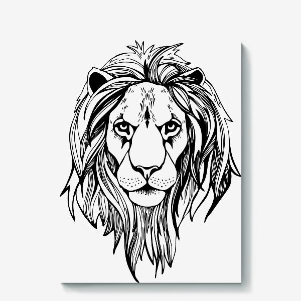 Холст «Лев. Графика»
