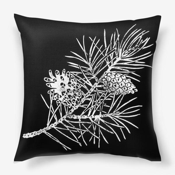 Подушка «Сосна в технике линогравюра-4»