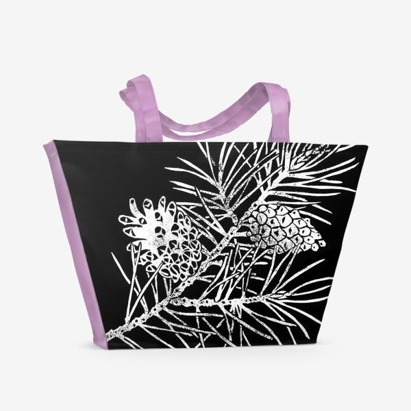 Пляжная сумка «Сосна в технике линогравюра-4»