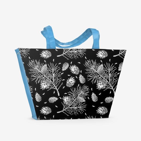 Пляжная сумка «Сосна в технике линогравюра-5»