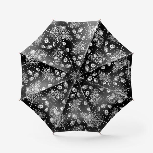 Зонт «Сосна в технике линогравюра-5»