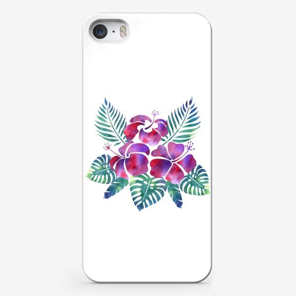 Чехол iPhone «Тропические листья и цветы»