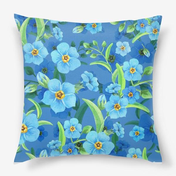 Подушка «Незабудки на синем»