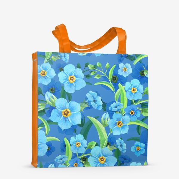 Сумка-шоппер «Незабудки на синем»