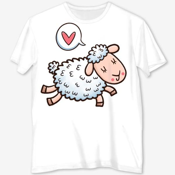 Футболка с полной запечаткой «Милая овечка думает о любви»