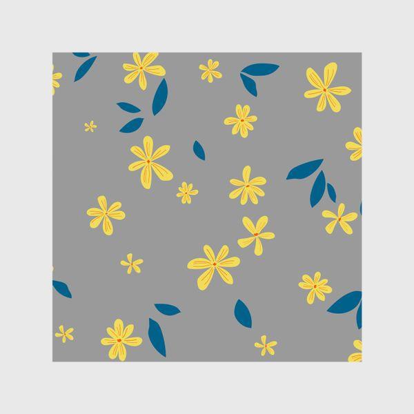 Шторы «жёлтые цветы на сером»