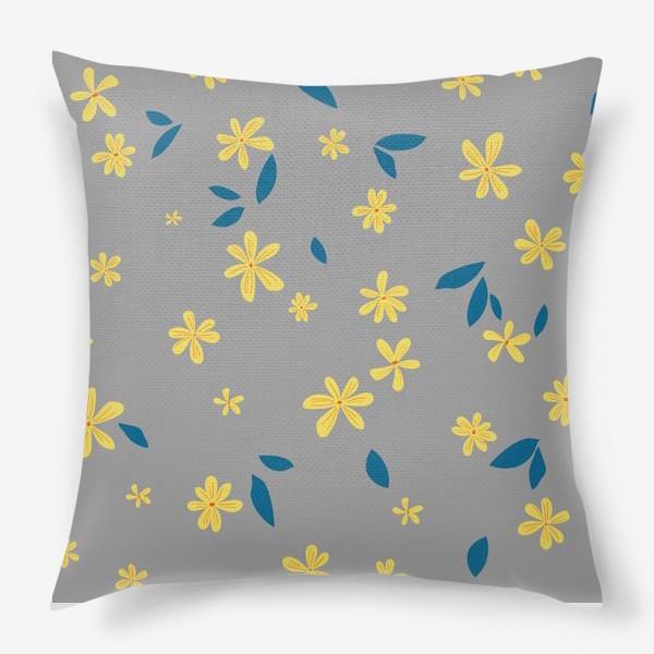 Подушка «жёлтые цветы на сером»