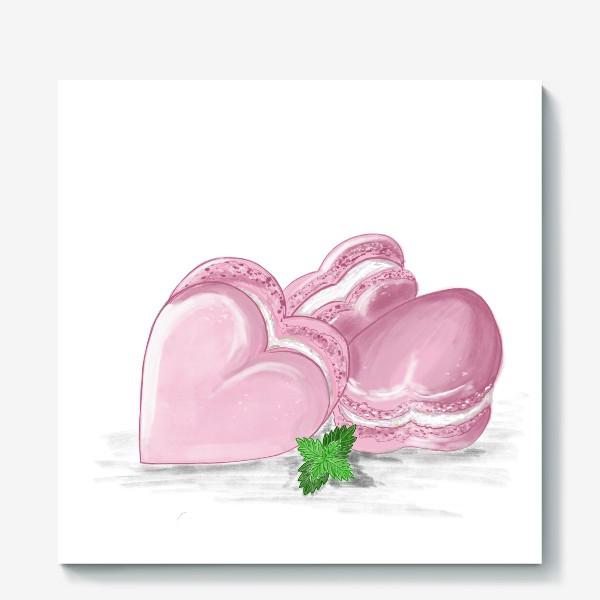 Холст «Пирожные макаронс-сердечки и листик мяты»