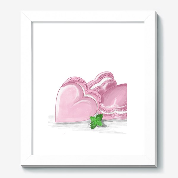 Картина «Пирожные макаронс-сердечки и листик мяты»