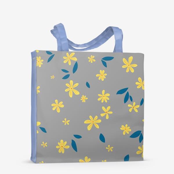 Сумка-шоппер «жёлтые цветы на сером»