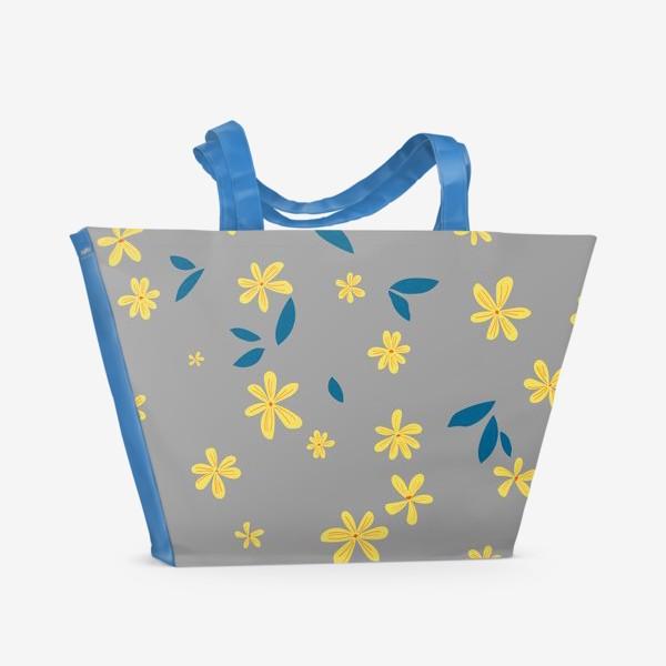 Пляжная сумка «жёлтые цветы на сером»