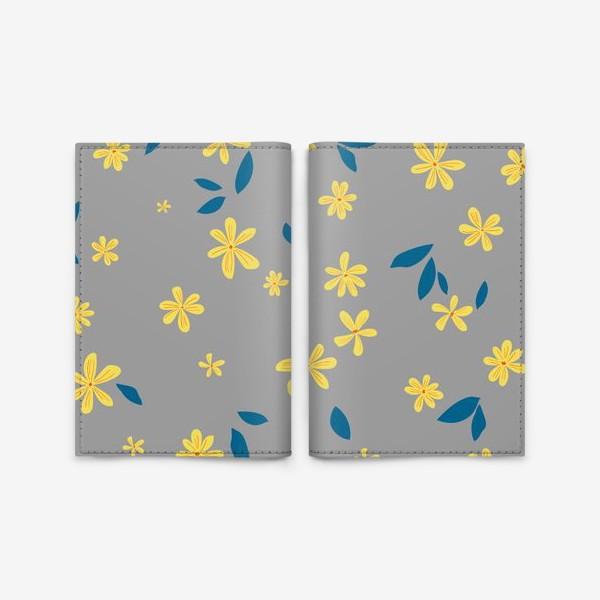 Обложка для паспорта «жёлтые цветы на сером»