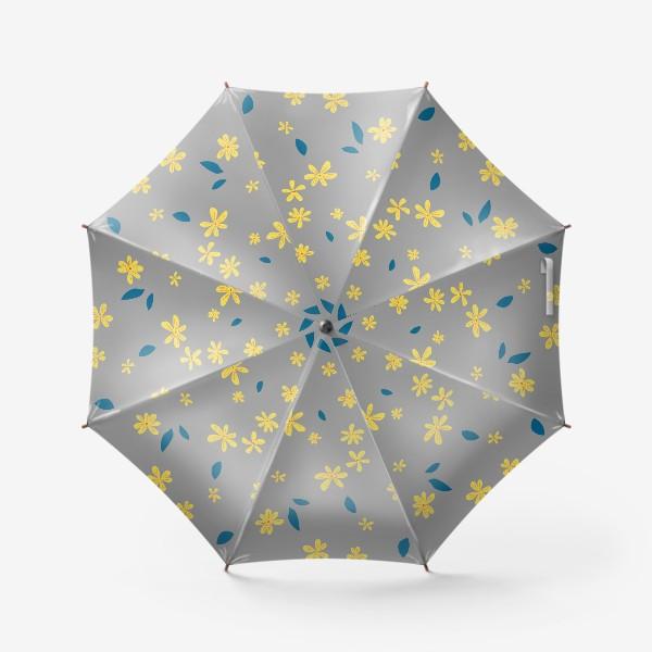 Зонт «жёлтые цветы на сером»