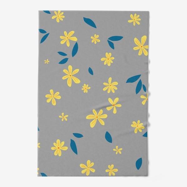 Полотенце «жёлтые цветы на сером»