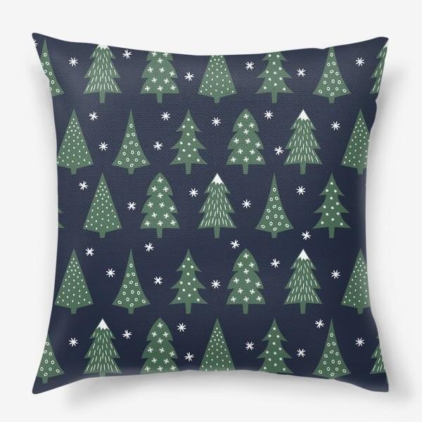 Подушка «Паттерн Зимний лес»