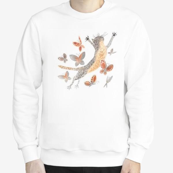 Свитшот «Радостный кот с бабочками»