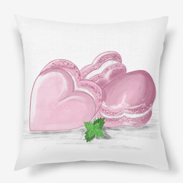 Подушка «Пирожные макаронс-сердечки и листик мяты»