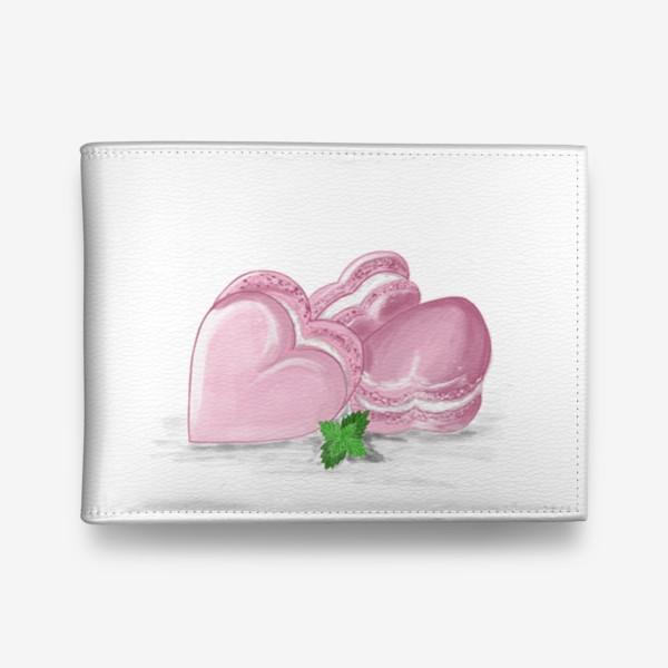 Кошелек «Пирожные макаронс-сердечки и листик мяты»