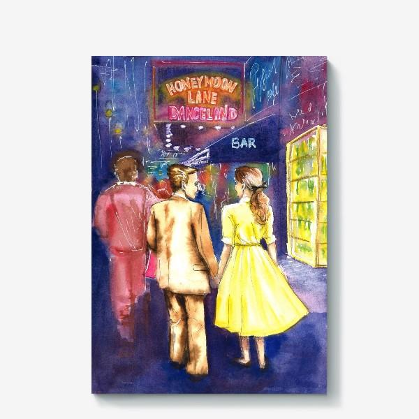 Холст «Акварель. Ночь. Парень и девушка. Прогулка в городе на улице. Неоновые вывеска.»