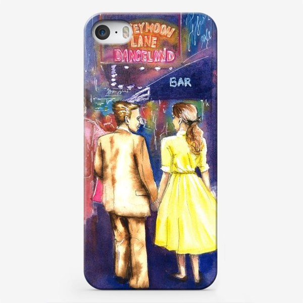 Чехол iPhone «Акварель. Ночь. Парень и девушка. Прогулка в городе на улице. Неоновые вывеска.»