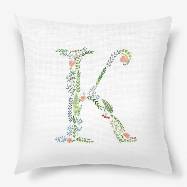 Подушка «Буква К из веточек, листиков, ягод и цветов.»