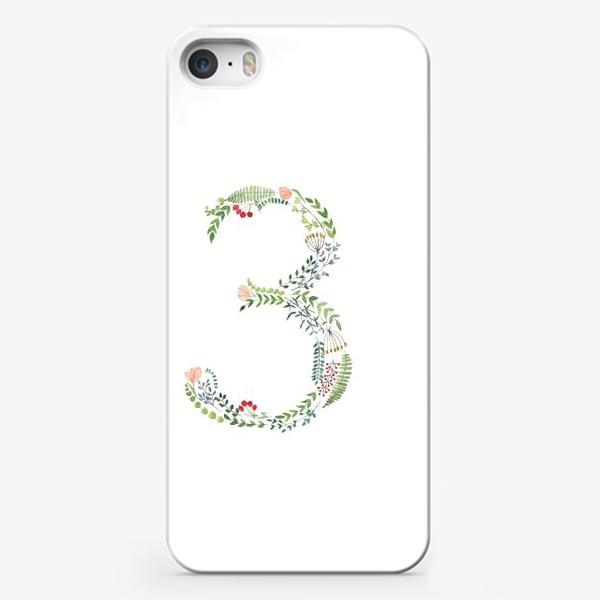 Чехол iPhone «Буква З из веточек, листиков, ягод и цветов.»