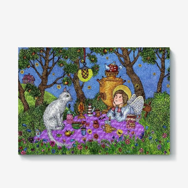 Холст «Уютное чаепитие в саду. Добрый ангел и кот.»
