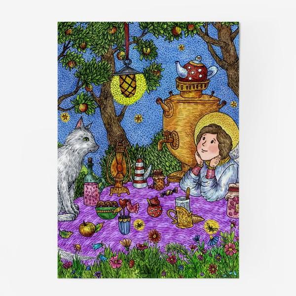 Постер «Уютное чаепитие в саду. Добрый ангел и кот.»